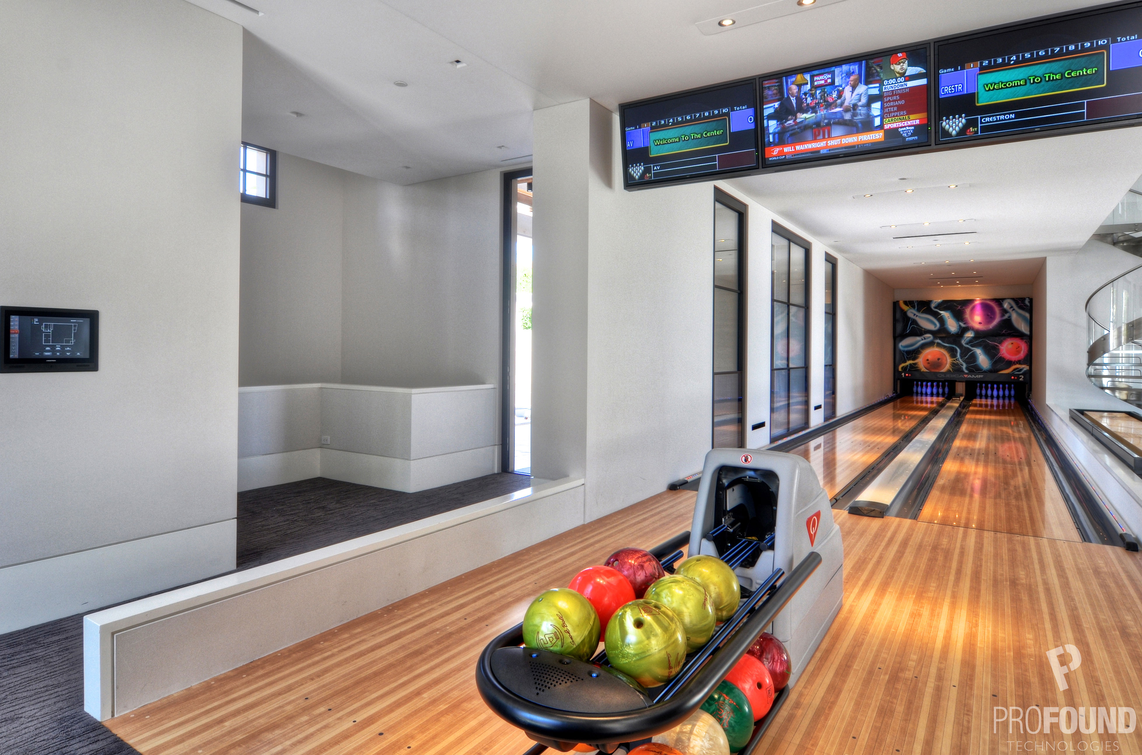 Residential Bowling Alley Viewed from Right