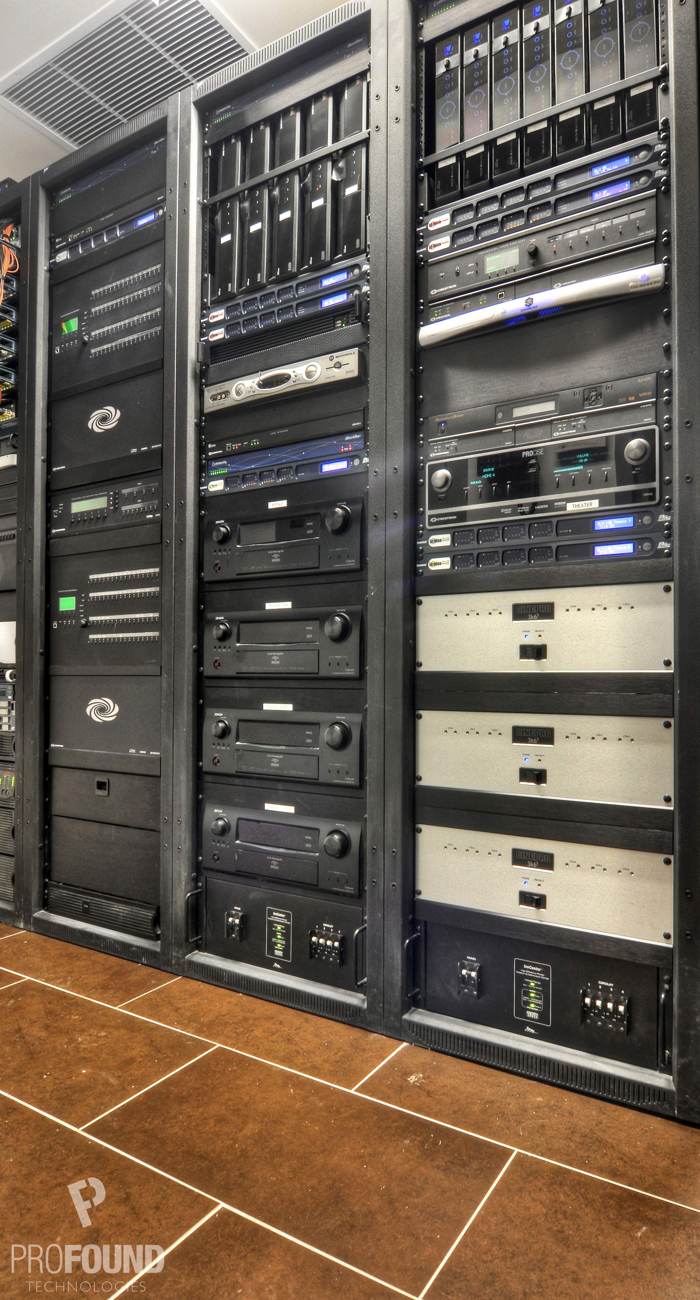 Right Angle View of Three Side by Side Server Racks