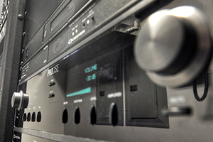 Up Close of Server Rack Mounted Home Theater Receiver