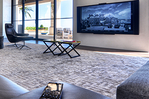 Tasteful Minimalist Living Room Space with Crestrong Smart Control and Mounted Widescreen 4k Display